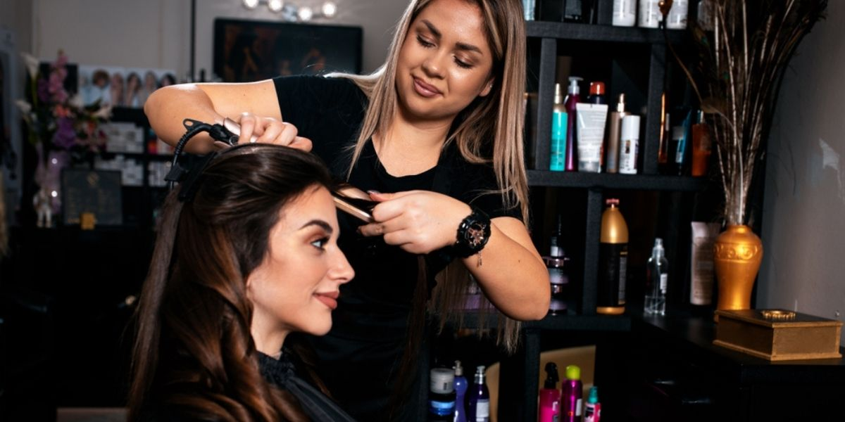 woman getting her hair done in the salon