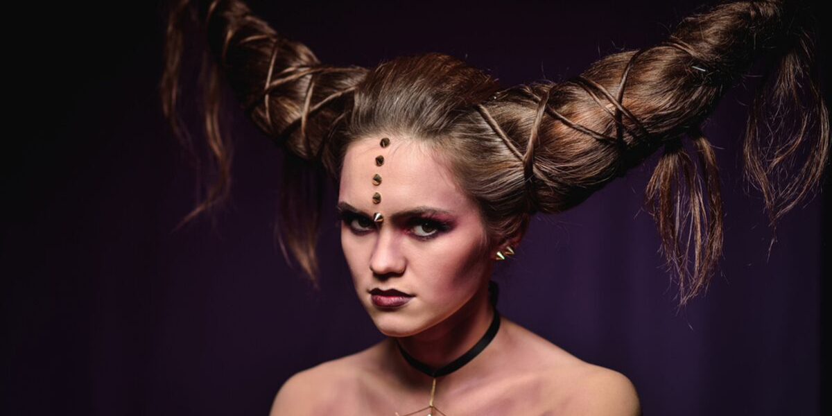 Girl with hair that represents horns