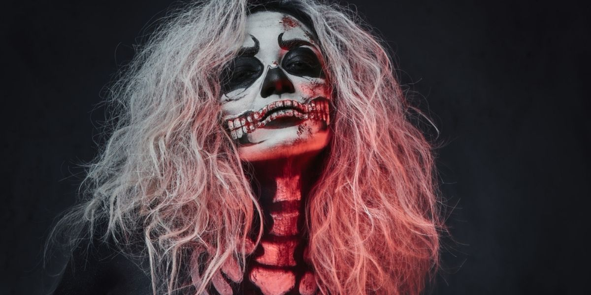 woman with skeleton makeup