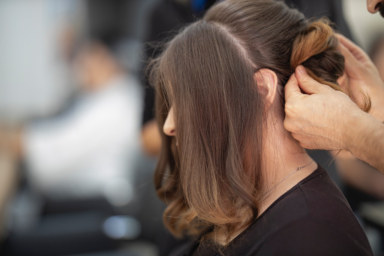 woman getting an up-do